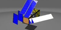 Model drawing of what NMSU's Europa CubeSat concept would look like as its panels unfurled. (Courtesy Image) JUL15