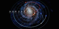 A single frame from an animation shows how stellar orbits in the Milky Way can change. It shows two pairs of stars (marked as red and blue) in which each pair started in the same orbit, and then one star in the pair changed orbits. The star marked as red has completed its move into a new orbit, while the star marked in blue is still moving. (Illustration by Dana Berry/SkyWorks Digital, Inc.; SDSS collaboration)